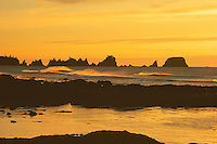 Sunset, Point of Arches, Olympic Wilderness Beach, Washington.