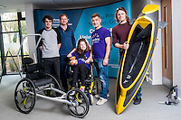 COPY BY TOM BEDFORD<br /> Sunday 26 June 2016<br /> Pictured: Poppy and Dad Rob together with the design team and the cutting edge equipment <br /> Re: A very special father-and-daughter team have tackled the Cardiff Triathlon.<br /> Poppy Jones, 11, who will be competing alongside dad Rob Jones, wants to win the event.<br /> And she's not going to let the fact that she has quadriplegic cerebral palsy , which means she can't sit, stand, roll or support herself, and chronic lung disease stop her.<br /> She will be by Rob's side every step of the way thanks to a cutting-edge wheelchair and boat – for Rob to push or pull – designed especially for the event, which sees participants take part in a swim across Cardiff Bay , a run and a bike ride.