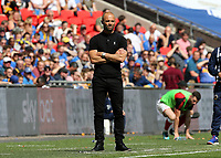 27th May 2018, Wembley Stadium, London, England;  EFL League 1 football, playoff final, Rotherham United versus Shrewsbury Town; Rotherham United manager Paul Warne looks on from the touchline