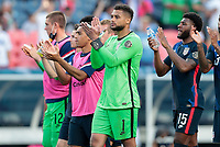 DENVER, CO - JUNE 3: Zack Steffen #1 of the United States celebrates with his team mates during a game between Honduras and USMNT at EMPOWER FIELD AT MILE HIGH on June 3, 2021 in Denver, Colorado.