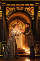 London, UK. 03.02.2016. Shakespeare's Globe presents THE WINTER'S TALE, by William Shakespeare, in the Sam Wanamaker Playhouse. Picture shows: Niamh Cusack (Paulina), Rachael Stirling (Hermione), John Light (Antigonus). Photograph © Jane Hobson.