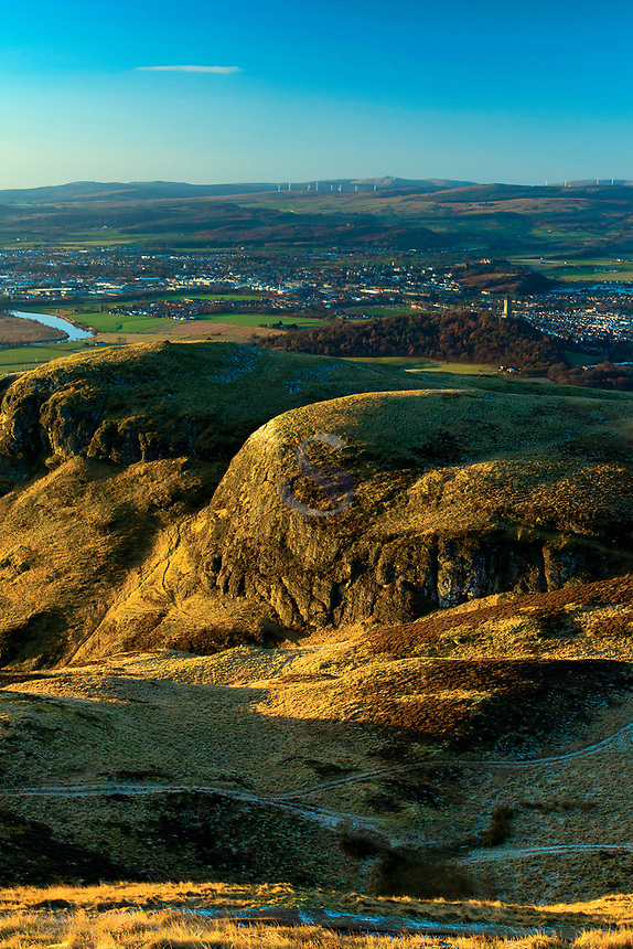 The Wallace Monument and Stirling from Dumyat, the Ochil Hills, Stirlingshire