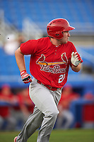 Palm Beach Cardinals right fielder Nick Thompson (27) during a game against the Dunedin Blue Jays on April 15, 2016 at Florida Auto Exchange Stadium in Dunedin, Florida.  Dunedin defeated Palm Beach 8-7.  (Mike Janes/Four Seam Images)