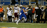 BROOKINGS, SD - MAY 2: Mark Gronowski #11 of the South Dakota State Jackrabbits looks for a defender on a 67 yard touchdown against the Southern Illinois Salukis at Dana J Dykhouse Stadium on May 2, 2021 in Brookings, South Dakota. (Photo by Dave Eggen/Inertia)