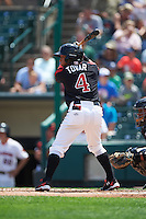 Rochester Red Wings shortstop Wilfredo Tovar (4) at bat during a game against the Norfolk Tides on July 17, 2016 at Frontier Field in Rochester, New York.  Rochester defeated Norfolk 3-2.  (Mike Janes/Four Seam Images)
