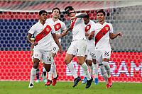 9th July 2021, Brasilia, Federal District, Brazil:  Colombia verus Peru match for third place Copa America in Brazil 2021 held at Estadio Nacional Man Garricha. Lapadula of Perus celebrating Peru's goal.