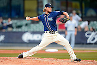 Mobile BayBears pitcher Bradin Hagens #16 during a game against the Pensacola Blue Wahoos on April 14, 2013 at Hank Aaron Stadium in Mobile, Alabama.  Mobile defeated Pensacola 5-2.  (Mike Janes/Four Seam Images)