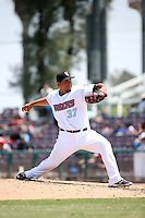 Eduardo Paredes (37) of the Inland Empire 66ers pitches against the Rancho Cucamonga Quakes at San Manuel Stadium on April 27, 2016 in San Bernardino, California. Rancho Cucamonga defeated Inland Empire, 2-1. (Larry Goren/Four Seam Images)
