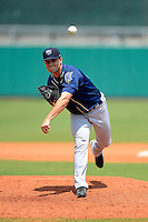 Mobile BayBears pitcher Steve Garrison #24 during a game against the Montgomery Biscuits on April 16, 2013 at Riverwalk Stadium in Montgomery, Alabama.  Montgomery defeated Mobile 9-3.  (Mike Janes/Four Seam Images)