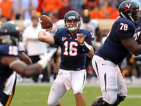 /v16 throws the ball during the game against the Southern Miss Golden Eagles at Scott Stadium. Virginia was defeated 30-24. (Photo/Andrew Shurtleff)