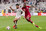 Abdelkarim Hassan of Qatar (R) fights for the ball with Bandar Mohamed Al Ahbabi of United Arab Emirates (R) during the AFC Asian Cup UAE 2019 Semi Finals match between Qatar (QAT) and United Arab Emirates (UAE) at Mohammed Bin Zaied Stadium  on 29 January 2019 in Abu Dhabi, United Arab Emirates. Photo by Marcio Rodrigo Machado / Power Sport Images