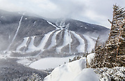 Snow making at Cannon Mountain in Franconia Notch State Park of the New Hampshire White Mountains from Eagle Cliff during the winter months.