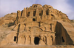 . Obelisq Tomb and triclinum at the entrance of the site. Middle East. Jordan. Petra