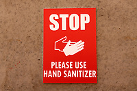Please Use Hand Sanitizer signage during Leyton Orient vs Forest Green Rovers, Sky Bet EFL League 2 Football at The Breyer Group Stadium on 23rd January 2021