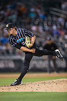 Charlotte Knights starting pitcher Carson Fulmer (28) follows through on his delivery against the Norfolk Tides at BB&T BallPark on May 2, 2017 in Charlotte, North Carolina.  The Knights defeated the Tides 8-3.  (Brian Westerholt/Four Seam Images)