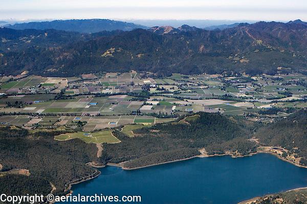 aerial photograph across the Napa Valley from Lake Hennessey to the Mayacamas Mountains, Napa County, California