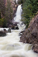 Warm temperatures and a heavy snowpack send a torrent of late Spring snowmelt 283 feet down Fish Creek Falls