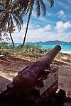 British Virgin Islands, Old canon, Pirate history, beach, Tortola Island, Jost Vandyke in the distance, Virgin Island Archepeligo, Greater Antilles, West Indies, Caribbean Sea,