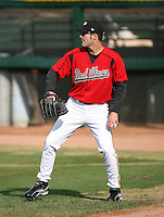 2007:  Dave Gassner of the Rochester Red Wings throws in the outfield prior to a game at Frontier Field during an International League baseball game. Photo By Mike Janes/Four Seam Images