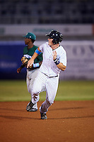 Tampa Yankees left fielder Trey Amburgey (17) running the bases during a game against the Daytona Tortugas on August 5, 2016 at George M. Steinbrenner Field in Tampa, Florida.  Tampa defeated Daytona 7-1.  (Mike Janes/Four Seam Images)