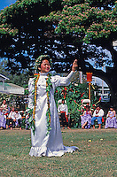 Young lady performing hula at May Day festivities. Liliuokalani School, Oahu