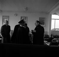 3 Janvier 1966. Vue de François Mitterand et du préfet Moris en pleine discussion, Toulouse France<br /> <br /> PHOTO:  Fonds André Cros,