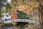 Autumn color at Moon bridge, Mt Desert Historical Society, Somesville, Mount Desert Island, Downeast, ME, USA
