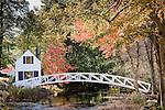 Autumn color at Moon bridge, Mt Desert Historical Society, Somesville, Mount Desert Island, Downeast, ME, USA