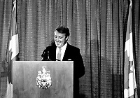 March 31, 1985 - File Photo - Brian Mulroney , Prime Minister of canada and leader, Conservative Party of Canada speak at the Queen Elizabeth hotel in Montreal.