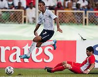 Stefan Jerome jumps over his defender. US Under-17 Men's National Team defeated United Arab Emirates 1-0 at Gateway International  Stadium in Ijebu-Ode, Nigeria on November 1, 2009.