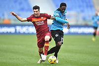Roger Ibanez of Roma and Emmanuel Gyasi of Spezia during the Serie A football match between AS Roma and AC Spezia at Olimpico stadium in Roma (Italy), Jannuary 23th, 2021. Photo Antonietta Baldassarre / Insidefoto