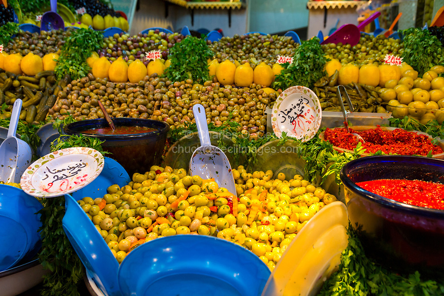 Fes, Morocco.  Olive Vendor's Stand in the Old City.
