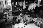 Messy untidy office, Blackburn Lancashire businessman in his dyeing factory 1983 1980s UK