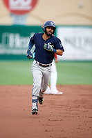 Charlotte Stone Crabs shortstop Peter Maris (3) running the bases during a game against the Palm Beach Cardinals on July 22, 2017 at Roger Dean Stadium in Palm Beach, Florida.  Charlotte defeated Palm Beach 5-2.  (Mike Janes/Four Seam Images)