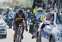 DS Tom Steels with some last motivation shouts for Philippe Gilbert (BEL/Quick Step floors) in the final kilometers towards the finish in Oudenaarde<br /> <br /> 101th Ronde Van Vlaanderen 2017 (1.UWT)<br /> 1day race: Antwerp › Oudenaarde - BEL (260km)