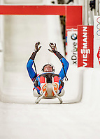 4 December 2015: Matej Kvicala and Jaromir Kudera, sliding for the Czech Republic, cross the finish line after their second run, finishing 17th for the day with a combined time of 1:29.747 in the Doubles Competition of the Viessmann Luge World Cup at the Olympic Sports Track in Lake Placid, New York, USA. Mandatory Credit: Ed Wolfstein Photo *** RAW (NEF) Image File Available ***