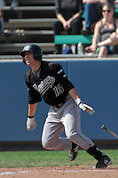 David Armendariz #13 of the Cal Poly Mustangs bats against the Loyola Marymount Lions at Page Stadium on February 25, 2012 in Los Angeles,California. Cal Poly defeated LMU 12-5.(Larry Goren/Four Seam Images)