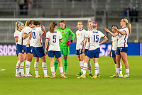 ORLANDO, FL - JANUARY 18: The USWNT stands on the field during a game between Colombia and USWNT at Exploria Stadium on January 18, 2021 in Orlando, Florida.