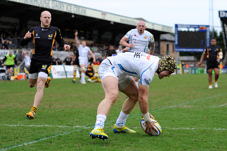 Jack Nowell of Exeter Chiefs touches down to score a try during the Aviva Premiership match between London Wasps and Exeter Chiefs at Adams Park on Sunday 21st April 2013 (Photo by Rob Munro)