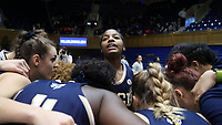DURHAM, NC - JANUARY 26: Kierra Fletcher #41 of Georgia Tech is surrounded by her teammates during a game between Georgia Tech and Duke at Cameron Indoor Stadium on January 26, 2020 in Durham, North Carolina.