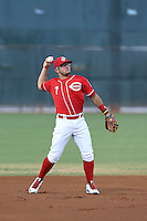Alberti Chavez (7) of the AZL Reds makes a throw from the field during a game against the AZL Brewers at Cincinnati Reds Spring Training Complex on July 5, 2015 in Goodyear, Arizona. Reds defeated the Brewers, 9-4. (Larry Goren/Four Seam Images)