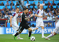 Lionel Messi (Argentinien, Argentina) gegen Gylfi Sigurdsson (Island, Iceland) - 16.06.2018: Argentinien vs. Island, Spartak Stadium Moskau