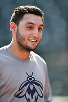 Shortstop Michael Paez (3) of the Columbia Fireflies works out before a game against the Lexington Legends on Friday, April 21, 2017, at Spirit Communications Park in Columbia, South Carolina. Columbia won, 5-0. (Tom Priddy/Four Seam Images)