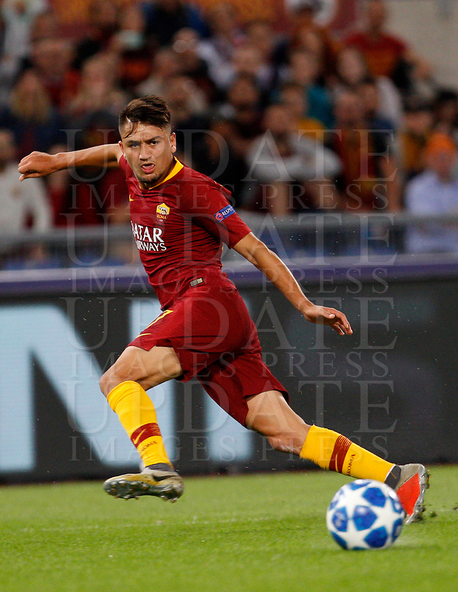 Roma's Cengiz Under in action during the Champions League football match between Roma and Viktoria Plzen at Rome's Olympic stadium, October 2, 2018.<br /> UPDATE IMAGES PRESS/Riccardo De Luca
