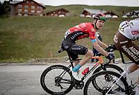 Jack Haig (AUS/Bahrain Victorious) up the finale towards La Plagne (HC/2072m/17.1km@7.5%) <br /> <br /> 73rd Critérium du Dauphiné 2021 (2.UWT)<br /> Stage 7 from Saint-Martin-le-Vinoux to La Plagne (171km)<br /> <br /> ©kramon