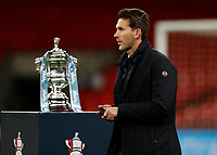 1st November 2020; Wembley Stadium, London, England; Womens FA Cup Final Football, Everton Womens versus Manchester City Womens; Manchester City Women Head Coach Gareth Taylor walks past the Womens FA Cup Final Trophy