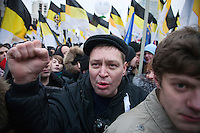 Moscow, Russia, 24/12/2011..Russian nationalists in an estimated crowd of up to 100,000 protesting against election fraud and Prime Minister Vladimir Putin in the largest anti-government demonstration in Russia since the collapse of the Soviet Union.