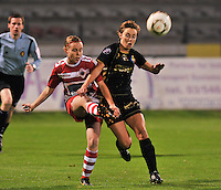 20131018 - ANTWERP , BELGIUM :  Antwerp Stefanie Van Broeck (left) pictured with Telstar  Karin Legemate (right) during the female soccer match between Royal Antwerp FC Ladies and Telstar Vrouwen Ijmuiden , of the Eight' matchday in the BENELEAGUE competition. Friday 18 October 2013. PHOTO DAVID CATRY