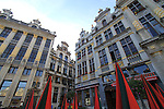 The Grand Place (town square) in the morning in downtown Brussels, Belgium.