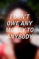 """Anonymous portrait taken in Cambridge, Massachusetts, USA,  paired with text answering the question: How much do you owe?  The project was produced as a look at personal debt for Longshot Magazine #2.  ..The person's response here reads: """"I don't owe any money to anybody"""""""